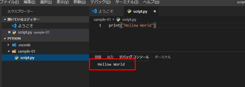F5を押してコードを実行する、コンソールに「Hellow World」と表示されたら成功、プログラミングの世界へようこそ!
