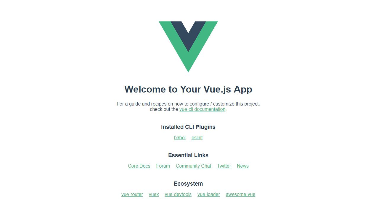 http://localhost:8080/にアクセスして「Welcome to Your Vue.js App」が表示されれば成功