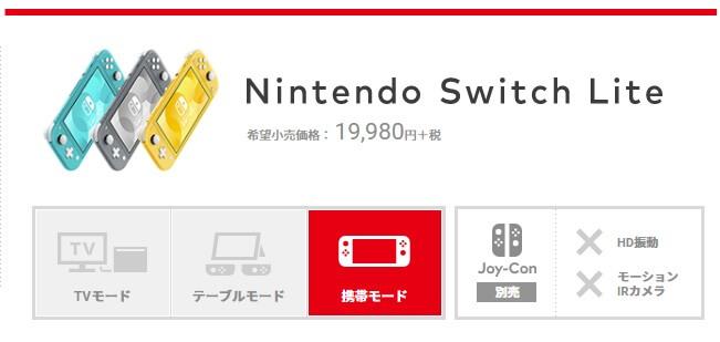 新型・任天堂スイッチライトは携帯モードに特化、従来版にある「TVモード」「テーブルモード」は使えなくなった