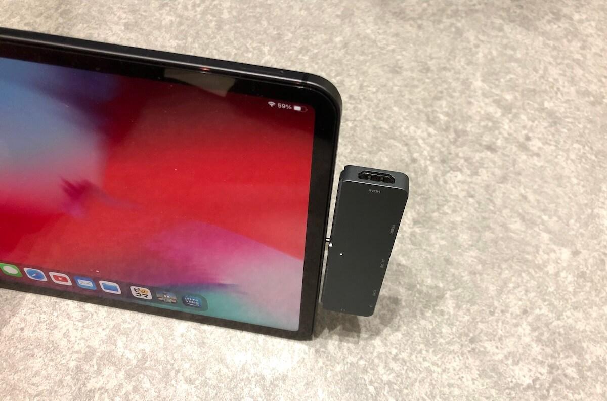 iPad Proで充電+イヤホンの同時利用ができる神ガジェット③:注意点について「保護フィルムと相性が悪い」